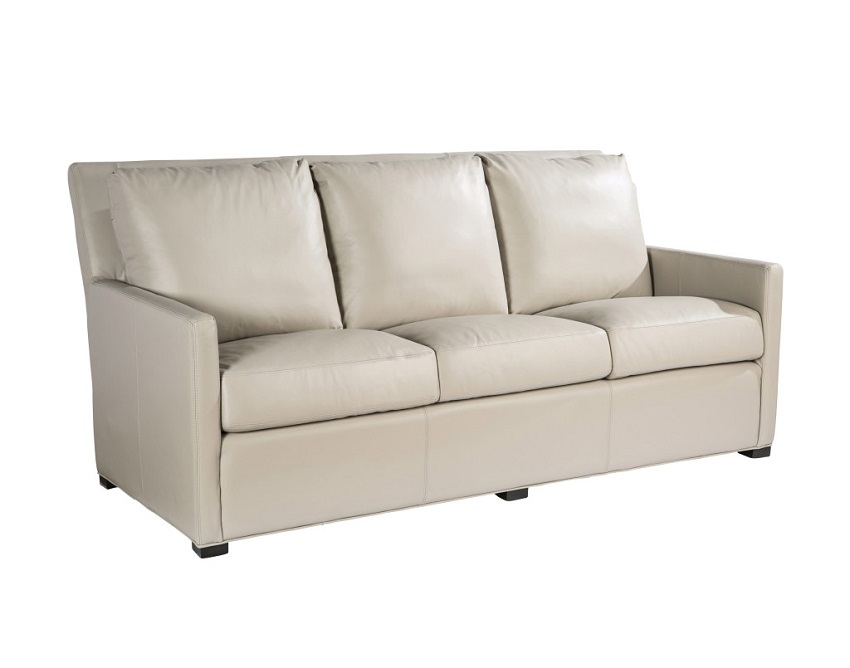 Quick Ship Charlotte Leather Sofa In Taupe