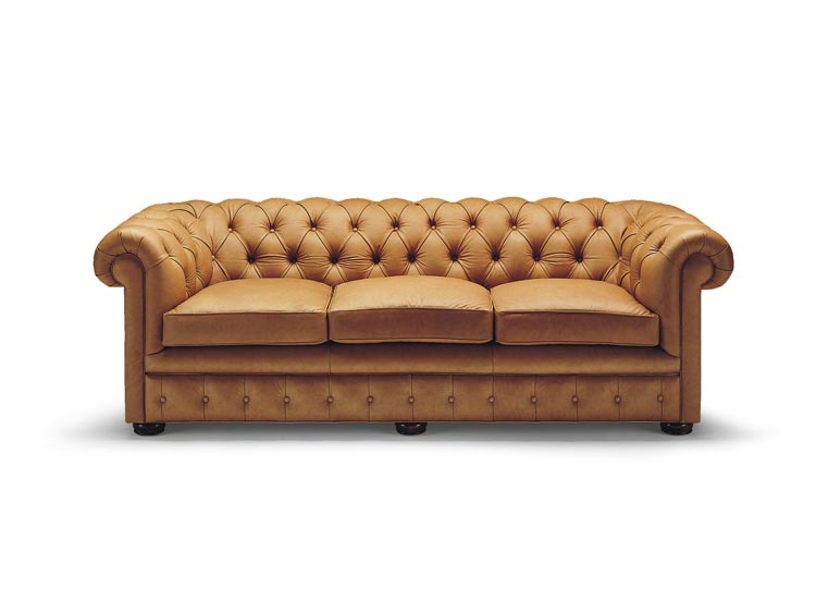 Button Tufted Leather Sleeper Sofa