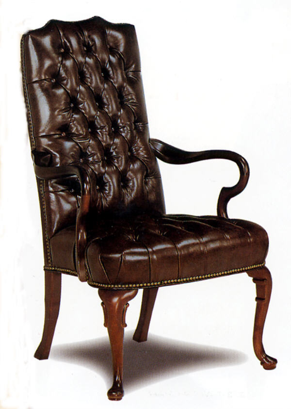 Fully Tufted Leather Gooseneck Chair