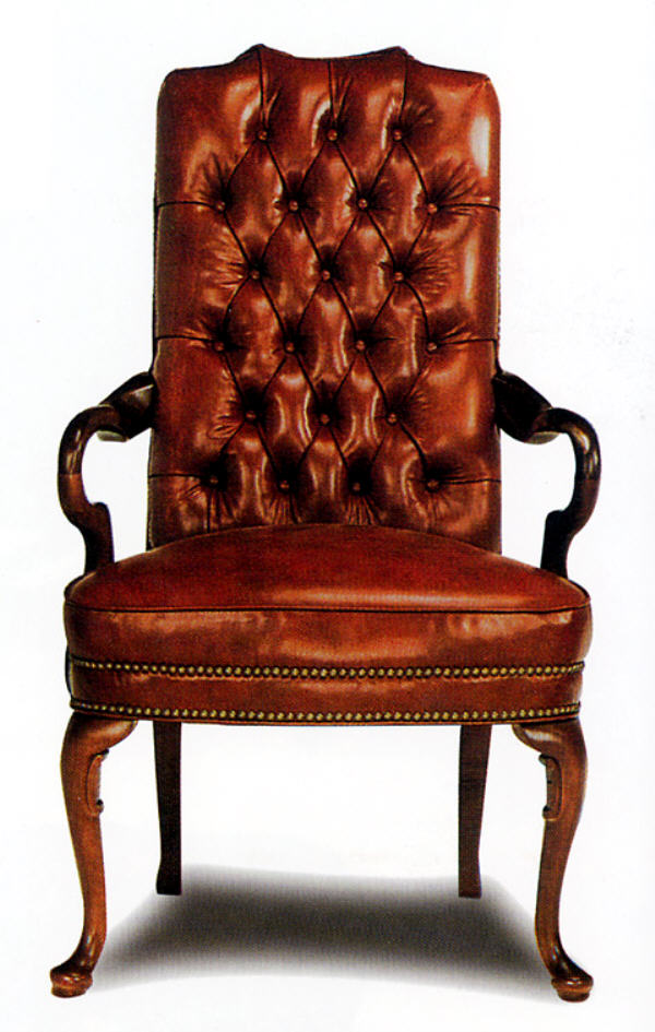 Leather Accent Chair Tufted Back Gooseneck Leather Chair