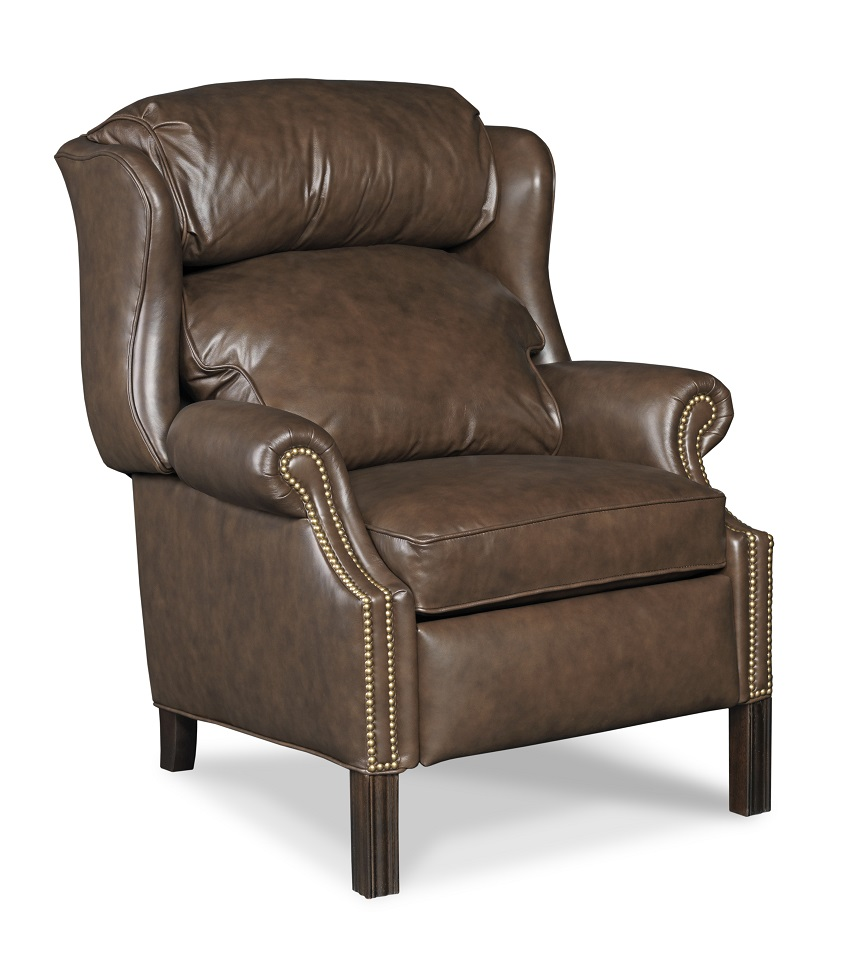 High quality leather recliner chippendale style for Leather wingback recliner sale