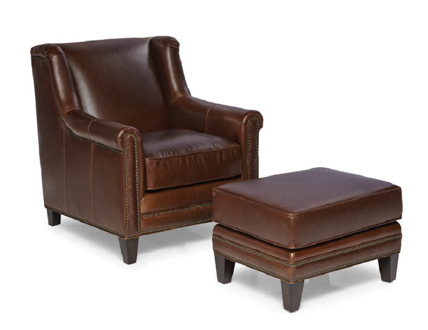 Quick Ship Pendleton Leather Chair Amp Ottoman In Walnut