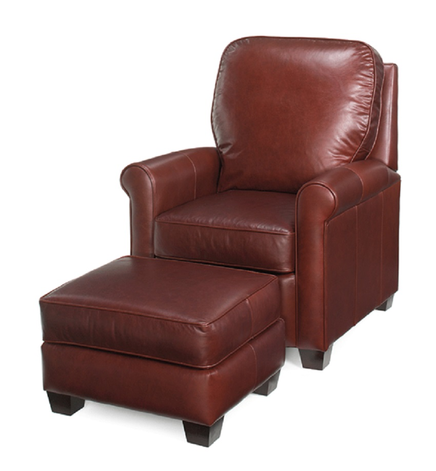Wakefield Leather Tilt Back Chair & Ottoman