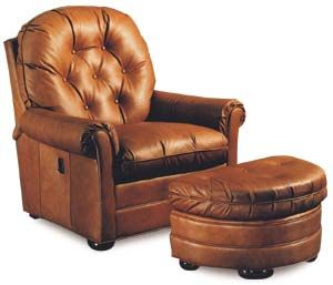 Sabastian Leather Tilt Back Chair & Ottoman