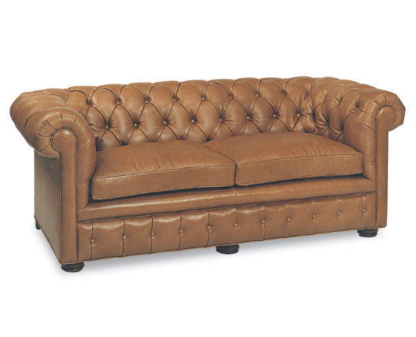 Button Tufted Leather Two Cushion Short Sofa