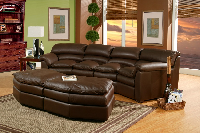 Canyon Leather Four Seat Conversation Sofa