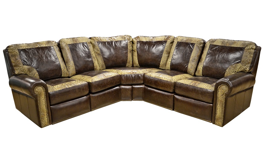 Leather Reclining Sectional Fenway Heights Brown 6 Pc Leather Reclining Sectional Living Room