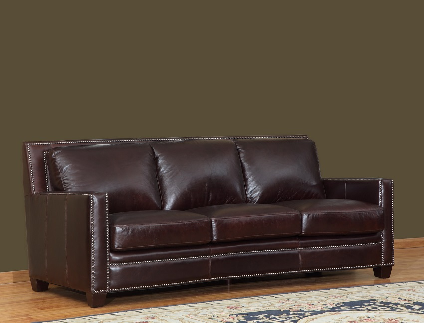 In Stock Leather Furniture Euston Leather Burgundy Sofa