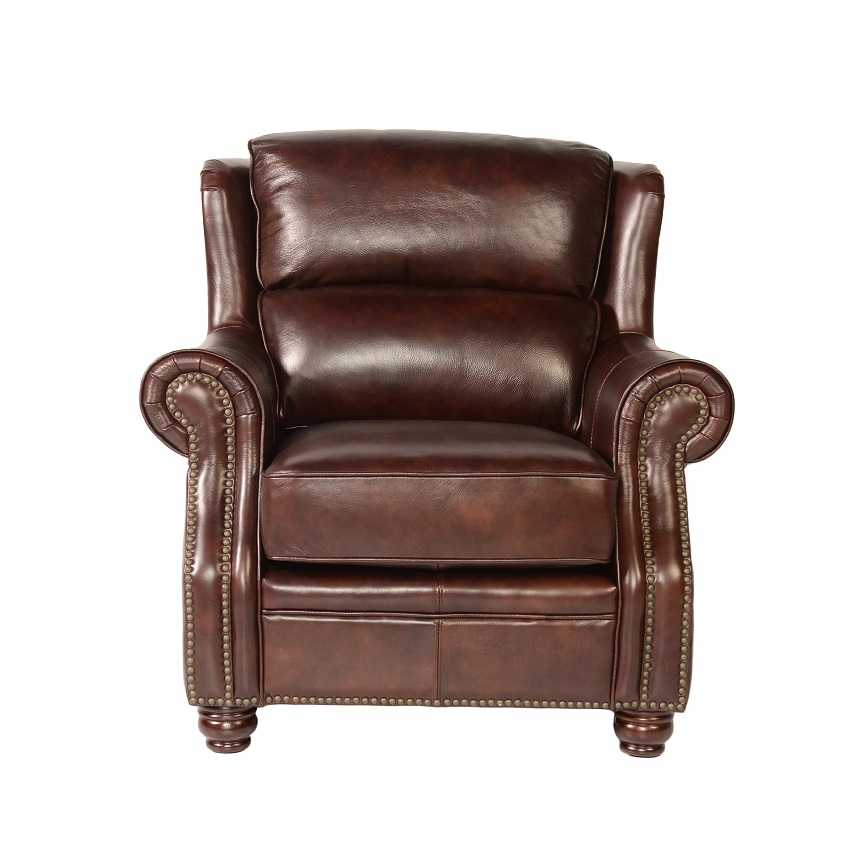Quick Ship Oakwood Leather Chair Ottoman
