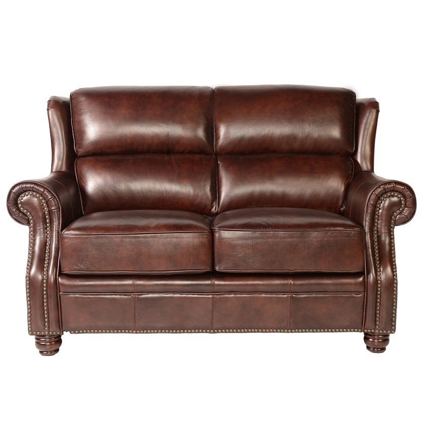 Quick Ship Oakwood Leather Loveseat