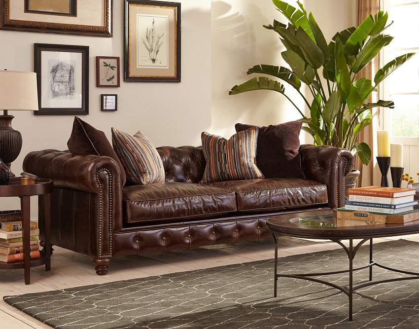 Hampton Leather Chesterfield Sofa