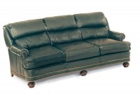 Double Pillow Back Leather Sleeper Sofa