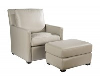 Charlotte Leather Chair & Ottoman In Taupe