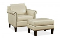 Belle Leather Chair & Ottoman In Stone