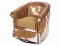 Leather Barrel Chair With Swivel