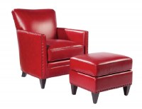 Logan Leather Chair & Ottoman In Red