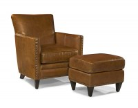 Logan Leather Chair & Ottoman In Coffee