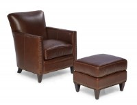 Logan Leather Chair & Ottoman In Walnut