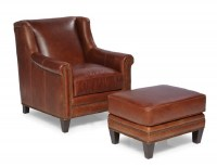 Pendleton Leather Chair & Ottoman In Coffee