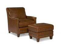 Prescott Leather Chair & Ottoman In Saddle