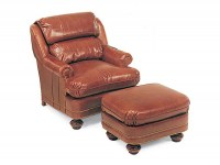 Double Pillow Back Leather Chair & Ottoman