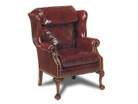 Library Leather Bustle Back Chair