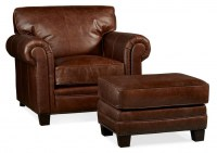 Hillsboro Leather Chair & Ottoman In Chaps Brown