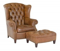 Bowden Leather Chair & Ottoman