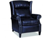 Broderick Leather Recliner In Navy