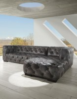 Manhattan Fully Tufted Sectional In Grey