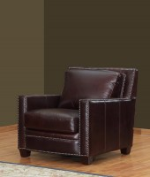 Euston Leather Chair In Burgundy
