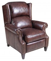 Parker Leather Recliner In Brown