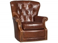 Woodward Timber Leather Swivel Chair