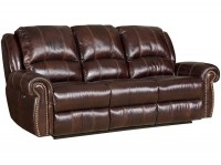 Saddle Brown Leather Power Motion Sofa