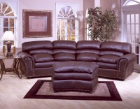 Williamsburg Leather Four Cushion Conversation Sofa
