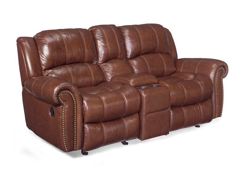 Hooker Entertainment Sofa With Glider Recliners & Storage Console