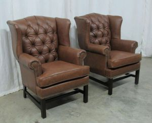 Tufted Leather Wing Back Chairs