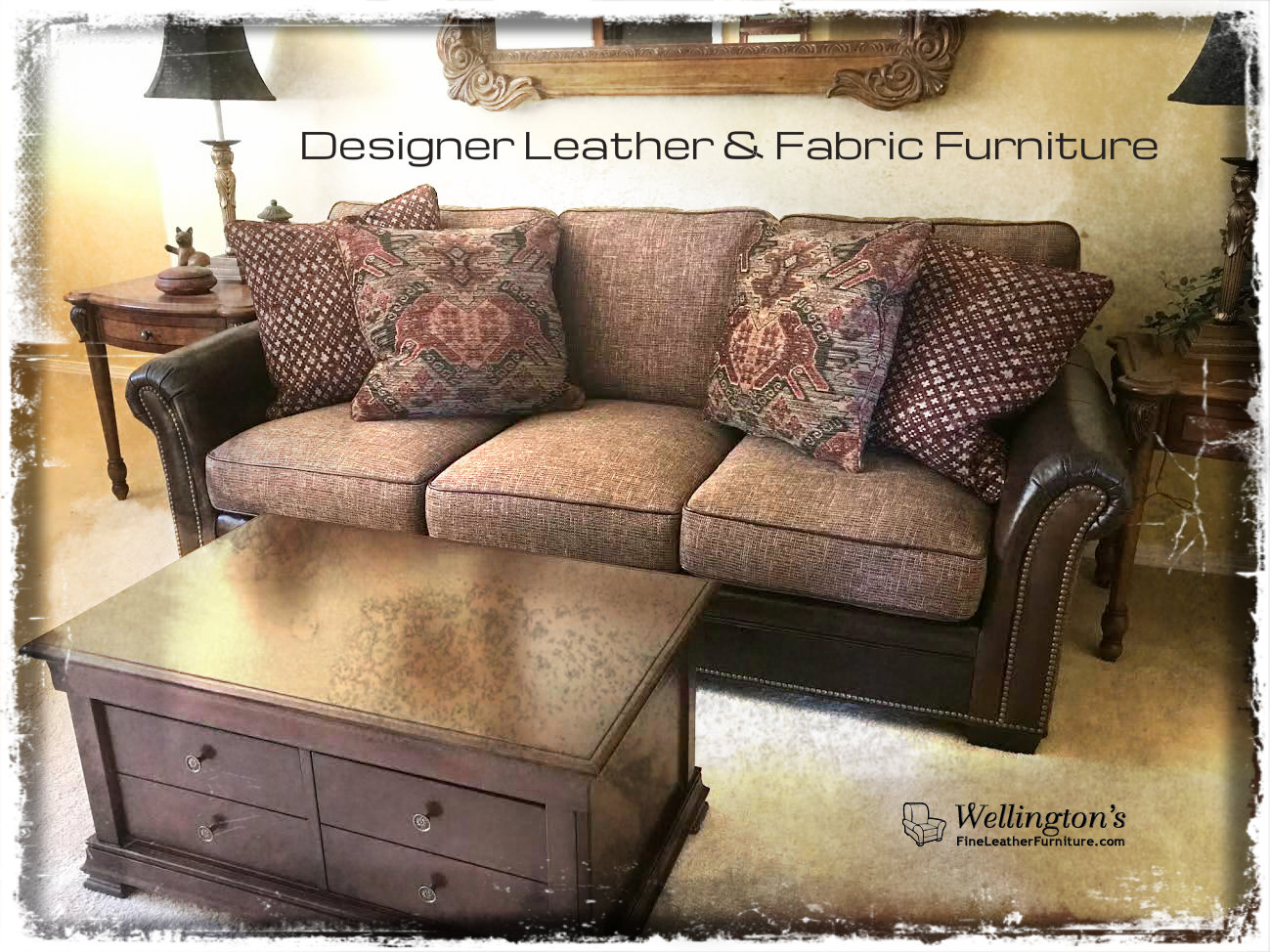 Designer Leather and Fabric Combination
