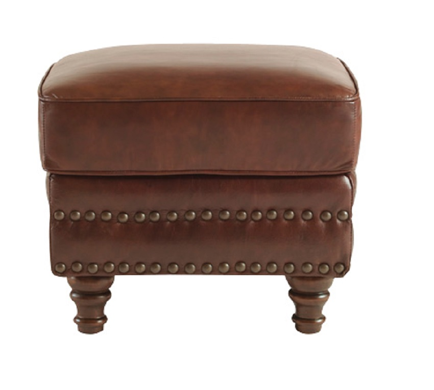 In Stock Leather Furniture Bremerton Leather Chair Ottoman