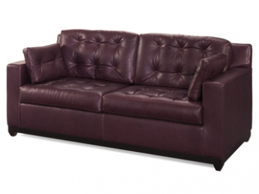 Buttoned Leather Loveseat