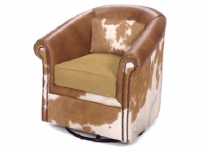 Bon Leather Barrel Chair With Swivel