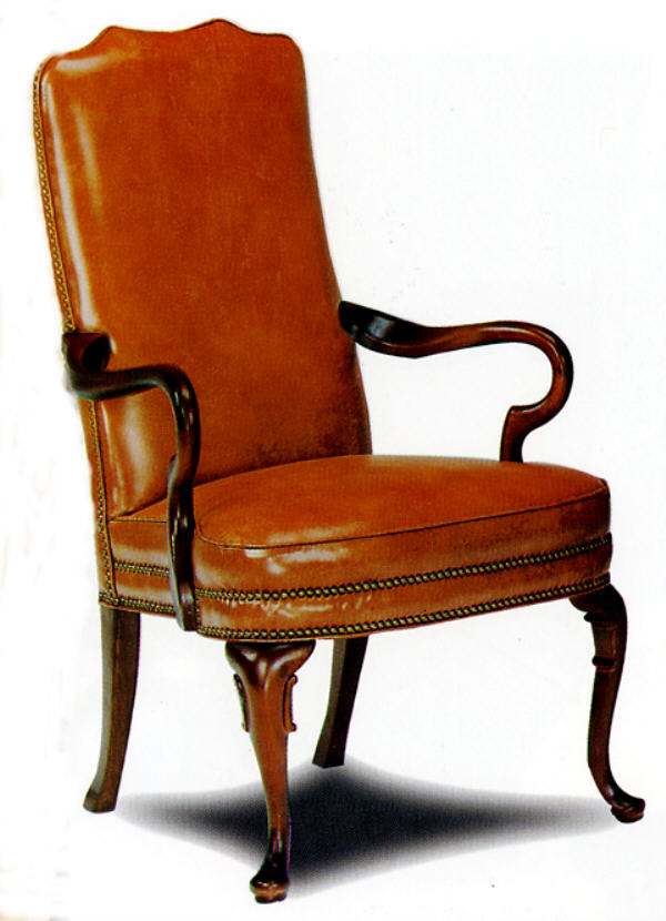 Superieur Plain Leather Gooseneck Chair