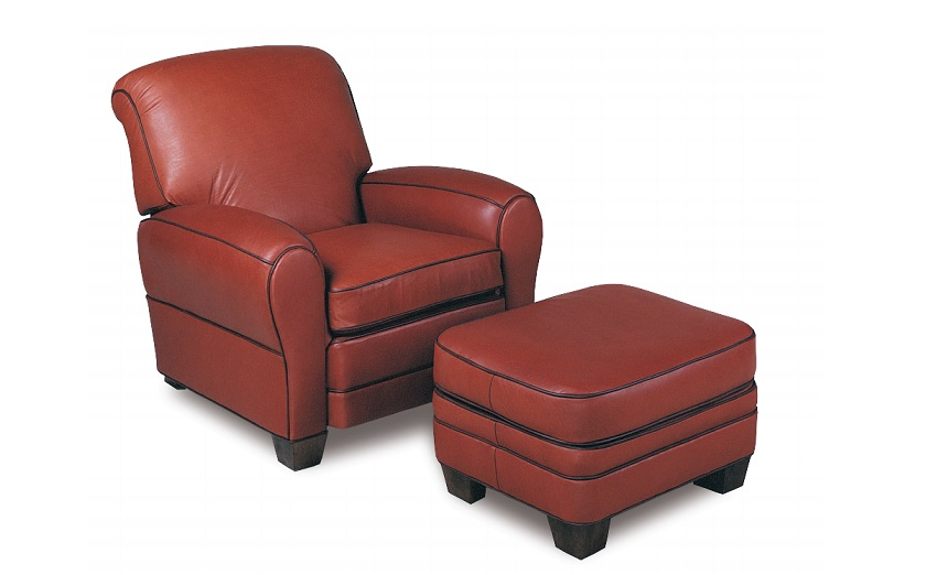 Pottery Leather Tilt Back Chair & Ottoman