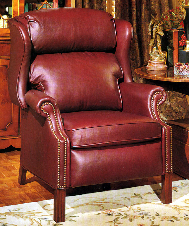 High Quality Leather Recliner Chippendale Style