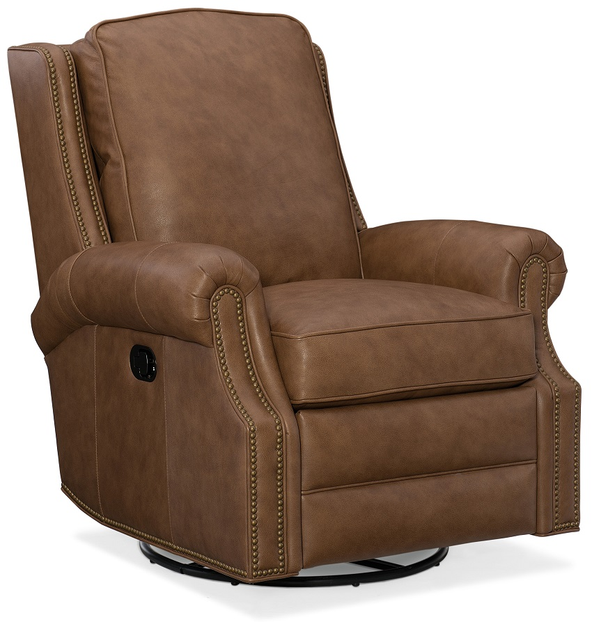 Aaron Leather Swivel Rocker Recliner By Bradington Young