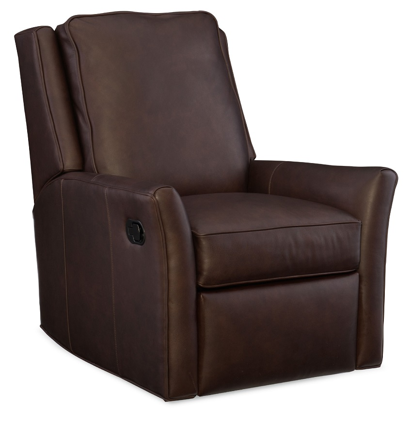 Barnes Leather Swivel Rocker Recliner By Bradington Young