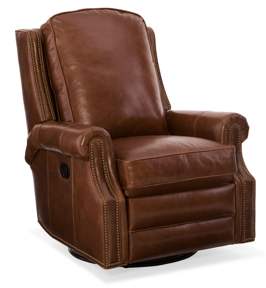 Aaron Leather Swivel Glider Recliner  sc 1 st  Wellingtons Fine Leather Furniture & Aaron Leather Swivel Rocker Recliner By Bradington Young islam-shia.org