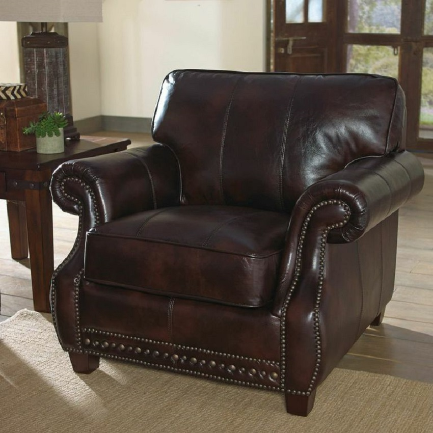 Anna Leather Chair & Ottoman