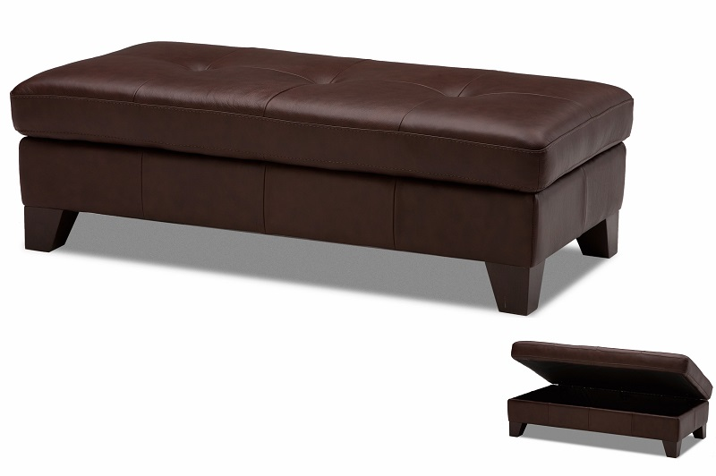 Leather Cocktail Ottoman Low Profile Leather Storage Bench