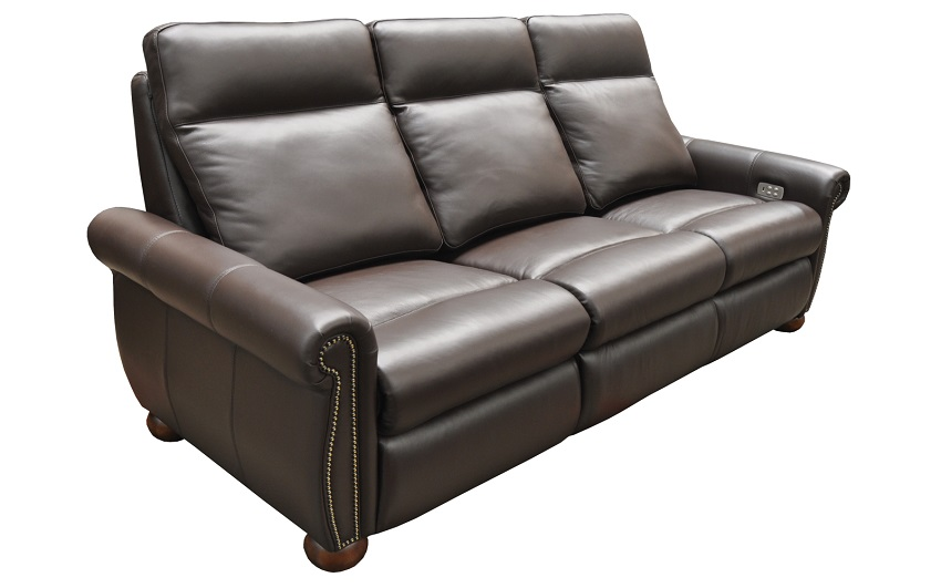 Stanton Leather Power Reclining Sofa With Articulating Headrest